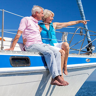 Inszone Insurance Boat Insurance Page Banner - Aged Couple on Boat