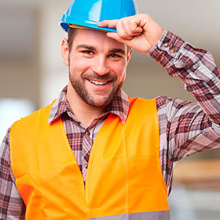 Inszone Insurance General Liability Insurance Page Banner - Male Worker Holding Construction Safety Hat