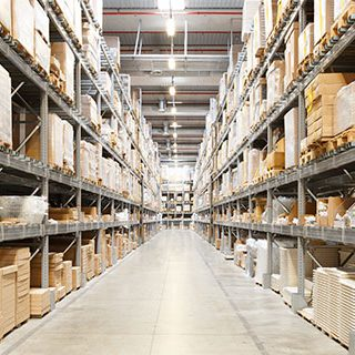 Warehouse with Cardboards on Shelf - Lead Image for Warehouses Page