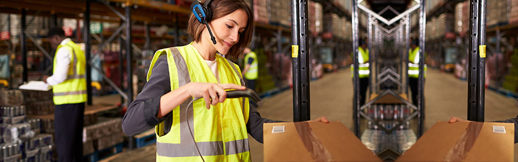 Inszone Insurance Wholesale & Distribution Page Banner - Warehouse Worker Using Barcode Scanner
