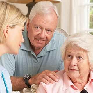 Elderly Couple Talking to Female Doctor - Lead Image forResidential Care Facilities Page