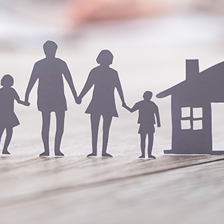 Inszone Insurance Group Life Insurance Page Banner - Paper Cut Outs of Car, Family and House