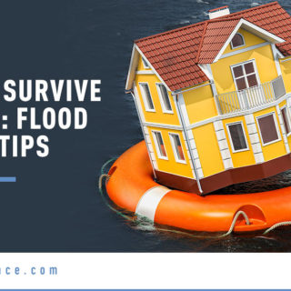 Floating House with Lifesaver - Banner Image for How to Survive a Flood: Flood Safety Tips Blog